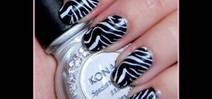 Do a Konad zebra nail design in 5 minutes