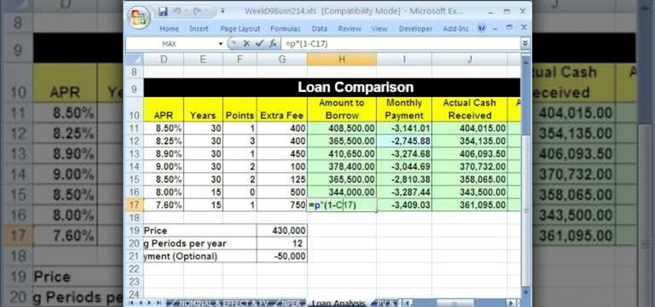 how to compare loans with a spreadsheet in microsoft excel