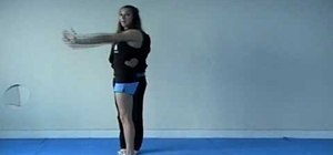 Perform a back handspring for cheerleading