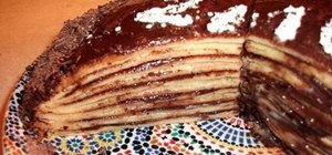 Bake a French crepe cake with chocolate filling