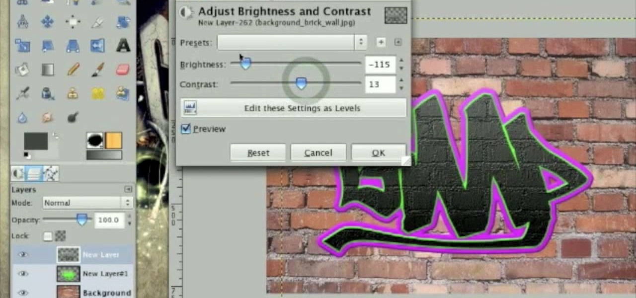 How to Draw realistic graffiti on a wall in GIMP