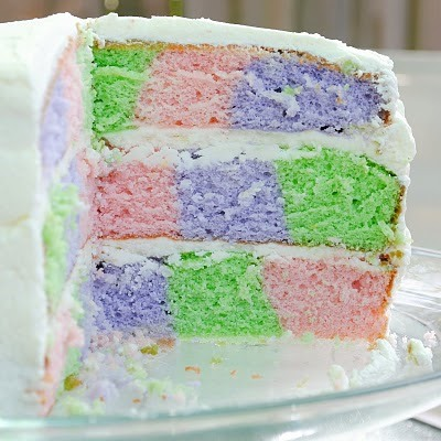 RECIPE: Pretty Pastel Checkerboard Cake