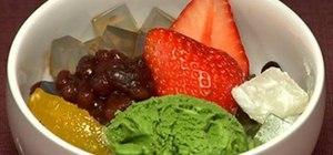 Make the Japanese dessert fruit cream anmitsu