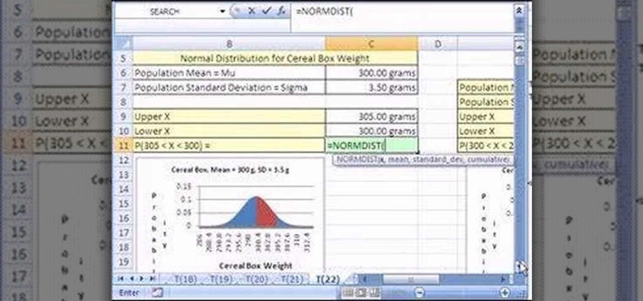 how to find norml distribution in excel