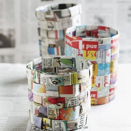 How to make a basket out of newspaper macgyverisms for Easy recycling projects