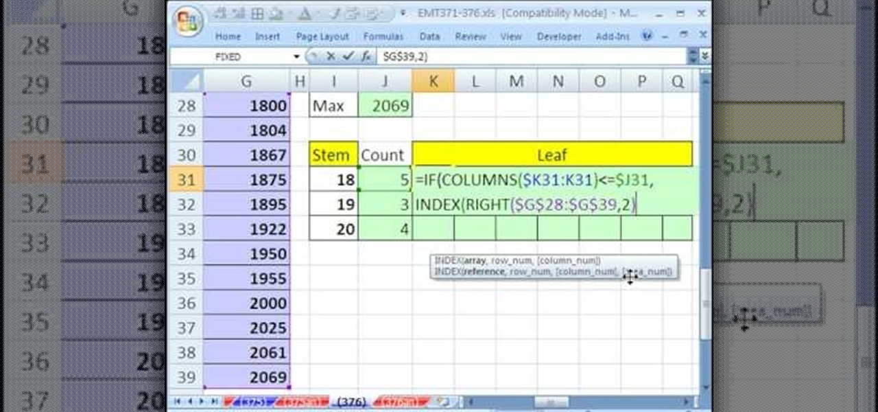 How to create an array for a stem and leaf chart in excel how to create an array for a stem and leaf chart in excel microsoft office wonderhowto ccuart Choice Image