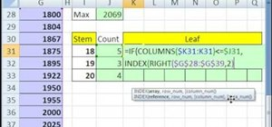 Create an array for a stem-and-leaf chart in Excel