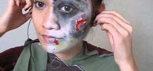 Create a creepy zombie makeup look and costume for Halloween