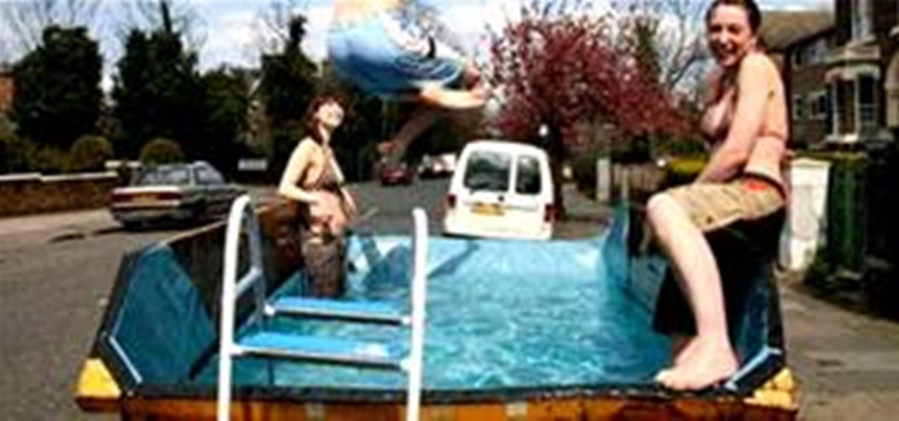 Transforming Swimming Pools : Transform dirty dumpster into a swimming pool