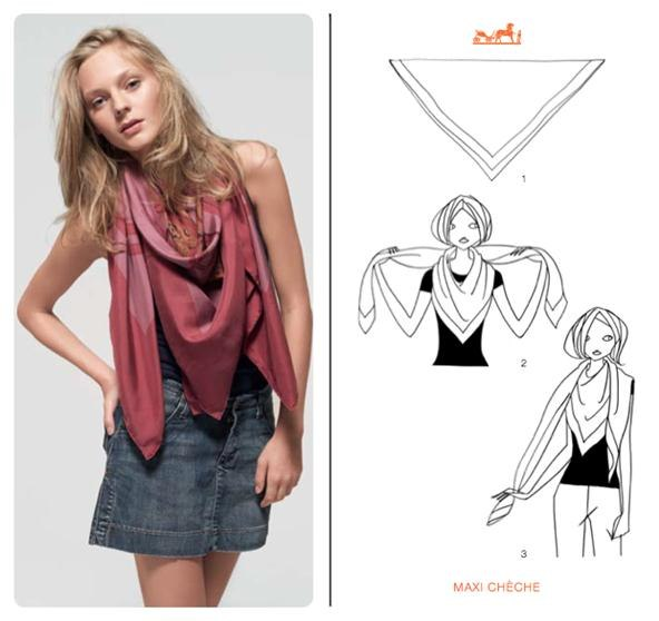 how to knot a herm s scarf in 21 different ways fashion. Black Bedroom Furniture Sets. Home Design Ideas