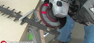 Shapen the blades on a hedge trimmer with a mill file or power grinder