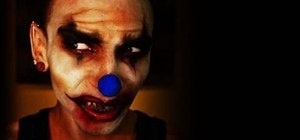 Create an evil, demented clown makeup look for Halloween