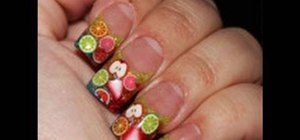 Create a glittery fruit nail design