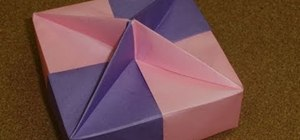 Fold a square shaped gift box with a star knob