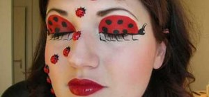 Apply ladybug makeup for Halloween
