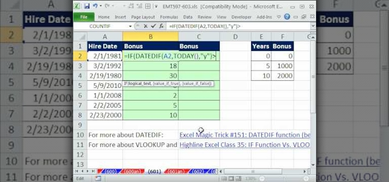 How To Calculate Bonuses Based On Years Worked In Ms Excel