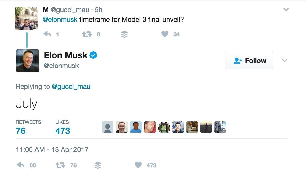 Elon Musk Tweets—Telsa Model 3 Is Coming in July