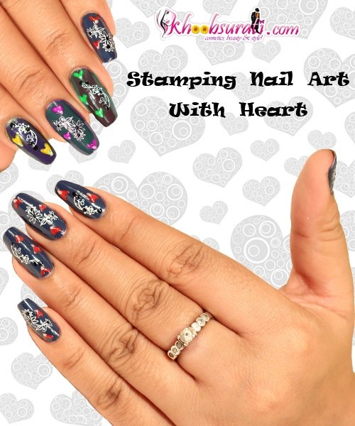 Stamping Nail Art With Heart