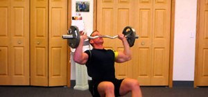 Do seated curl-bar shoulder presses to build deltoids