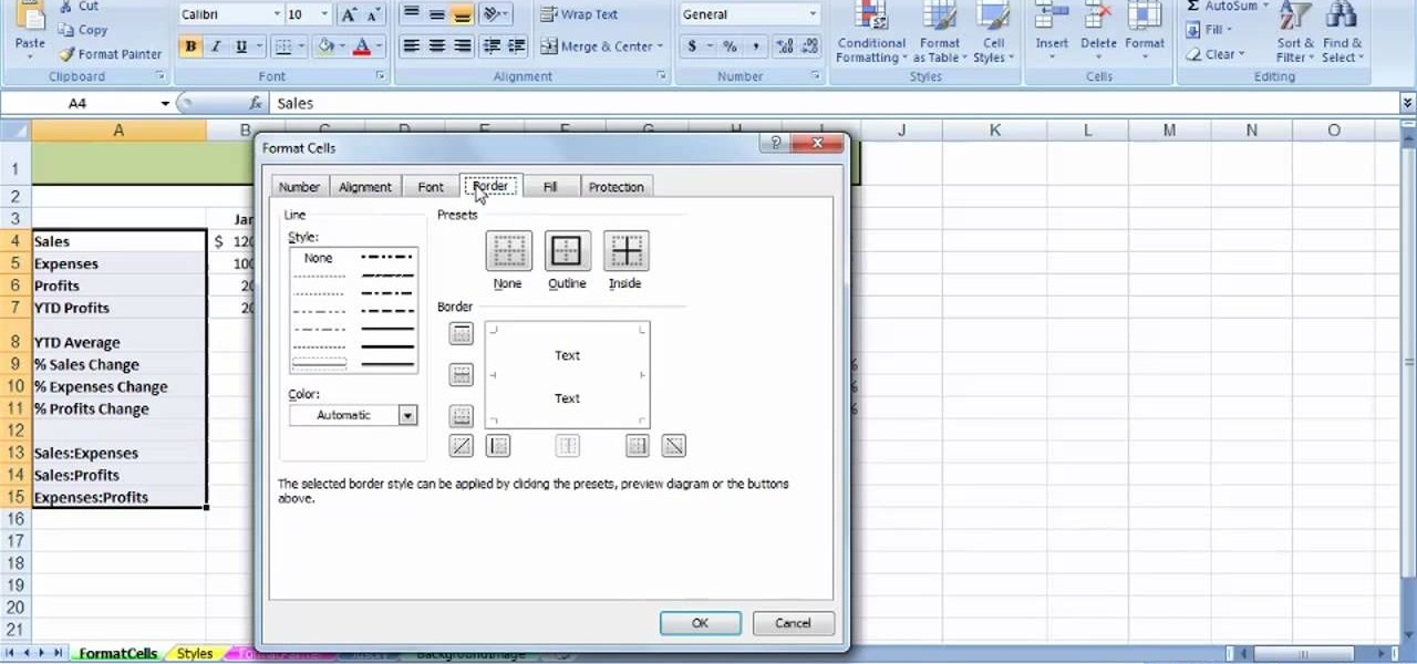 How To Use The Format Cells Dialog Box In Ms Excel 2007