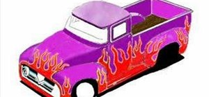 Draw a 56 Chevy truck with a flame paint job