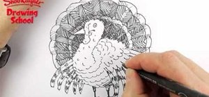 Draw a simple sketch of a Thanksgiving turkey