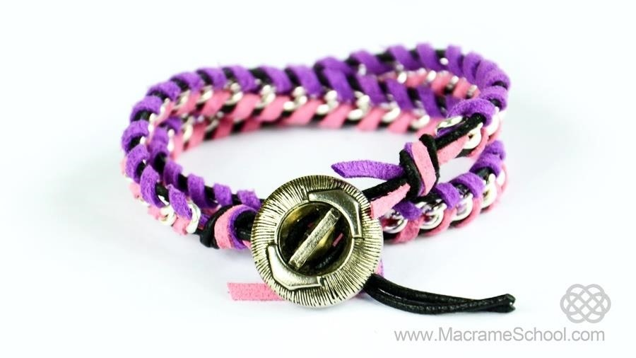 Leather Wrap Bracelet with Chain - Tutorial