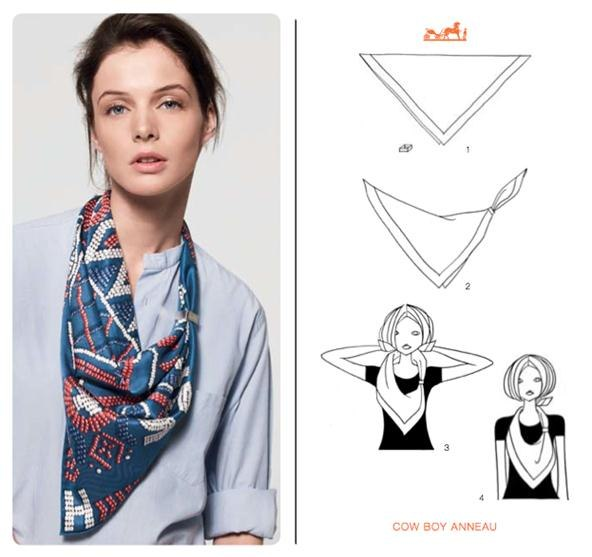 How to Knot a Herms Scarf in 21 Different Ways How To Wear Silk Scarves Hermes