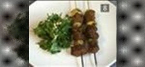 Make BBQ beef shish kebab with parsley salad