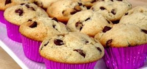 Bake homemade chocolate chip muffins from scratch