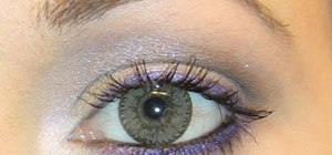 Create a purple and silver eye look for light brown and hazel eyes