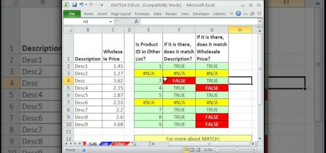 How to Cross-check two lists for discrepancies in MS Excel