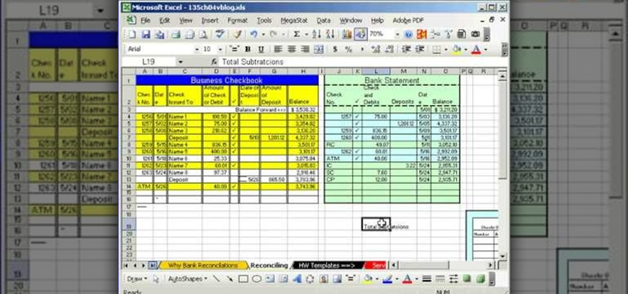 How To Do Bank Reconciliation In Microsoft Excel « Microsoft