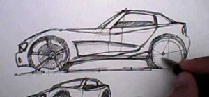 Draw the side view of a car