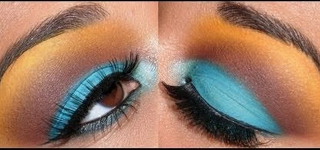 How To Create An Edgy Turquoise Brown And Yellow Eye Makeup Look