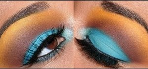 Create an edgy turquoise, brown, and yellow eye makeup look