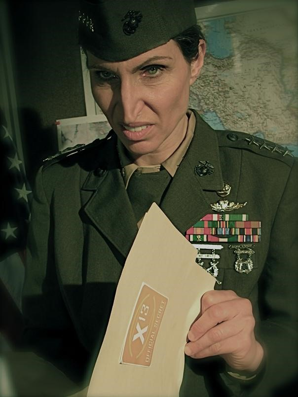 The amazing Bonnie Aarons as General Arbogast.