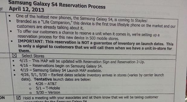 Samsung Galaxy S4 Release Dates Leaked for AT&T, T-Mobile, and Verizon