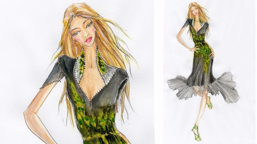 How to paint a DRESS with PLEATED SKIRT: Painting a Pattern of Abstract Leaves