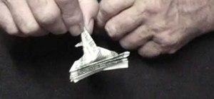 Origami a dollar bill peacock