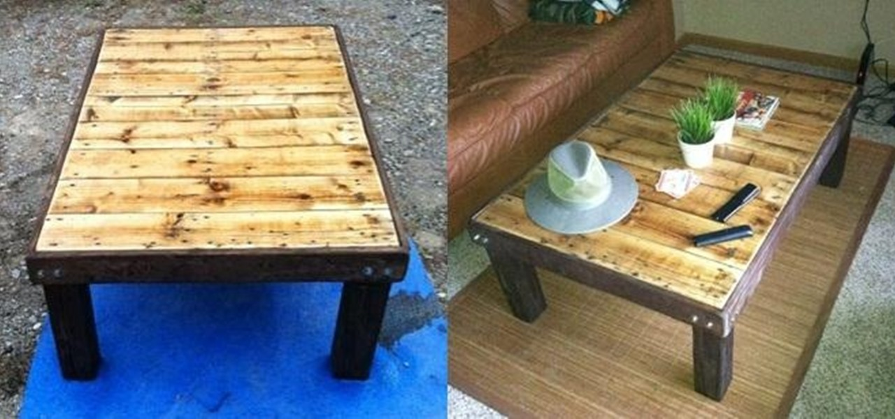 Make a Super Cheap Coffee-Stained Wood Pallet Coffee Table
