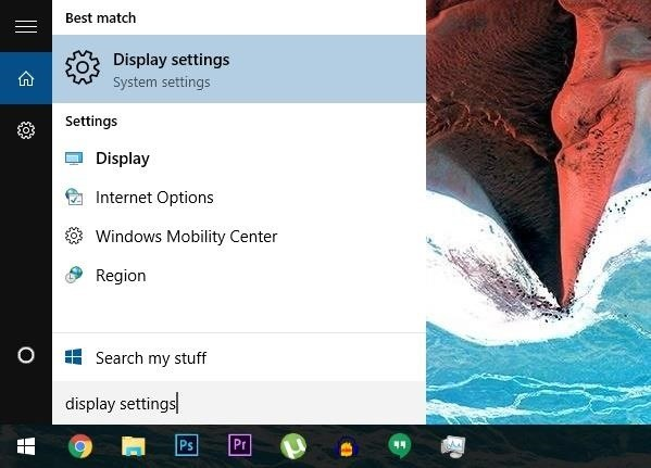 how to access display on win 10