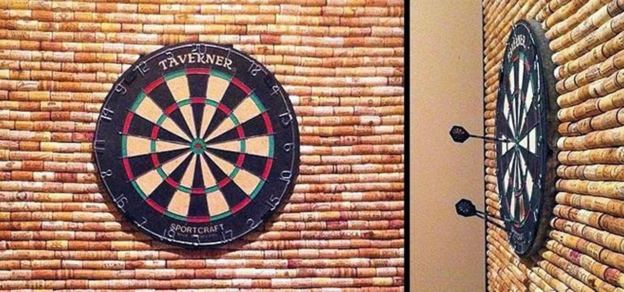 How To: Protect Your Wall From Stray Darts With This DIY Dartboard Cabinet  Made Of Wine Corks