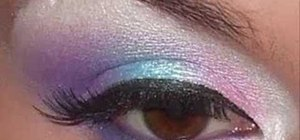 Apply pink, purple and blue eye shadow