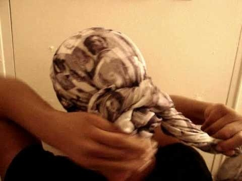 Tie a basic bun headwrap style