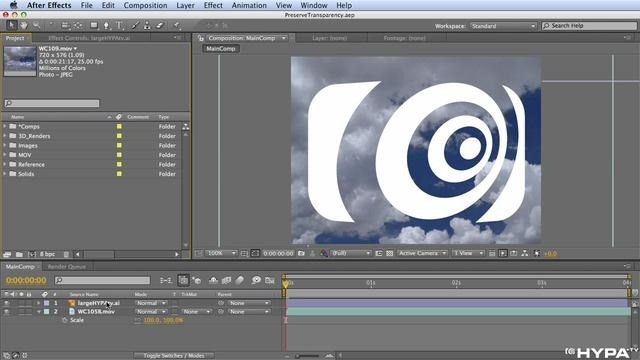 Use the Preserve Transparency button in After Effects