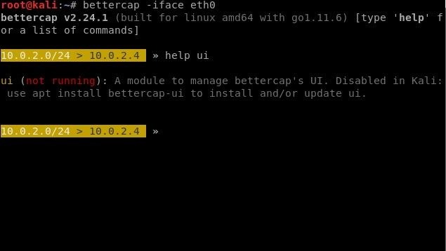 Bettercap-Ui Problem in Kali Linux