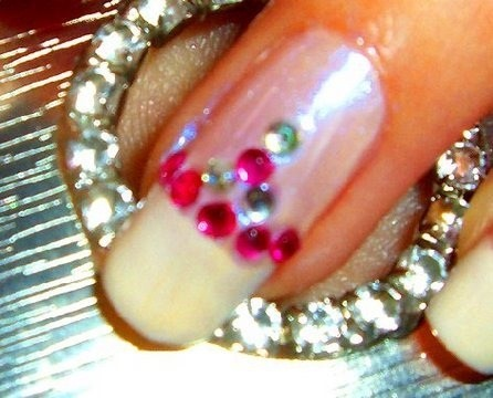 Apply nail rhinestones