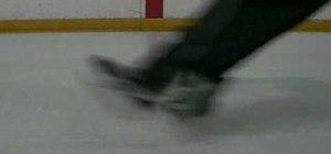 Hockey stop on ice skates