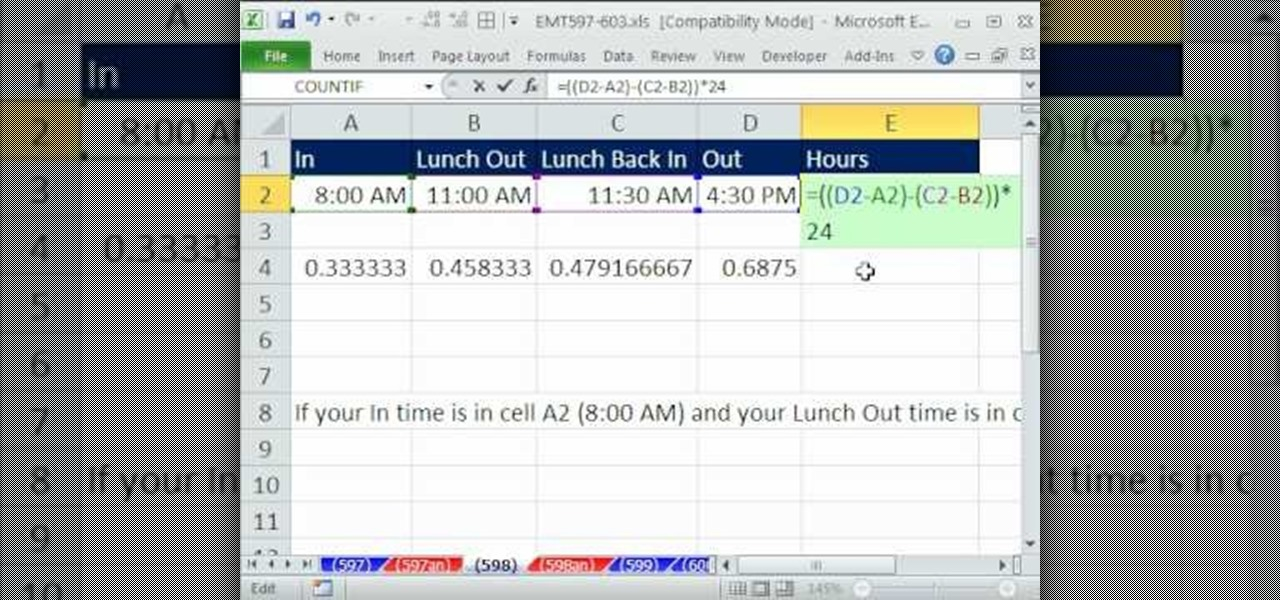 How To Calculate Hours Worked In Days In Microsoft Excel